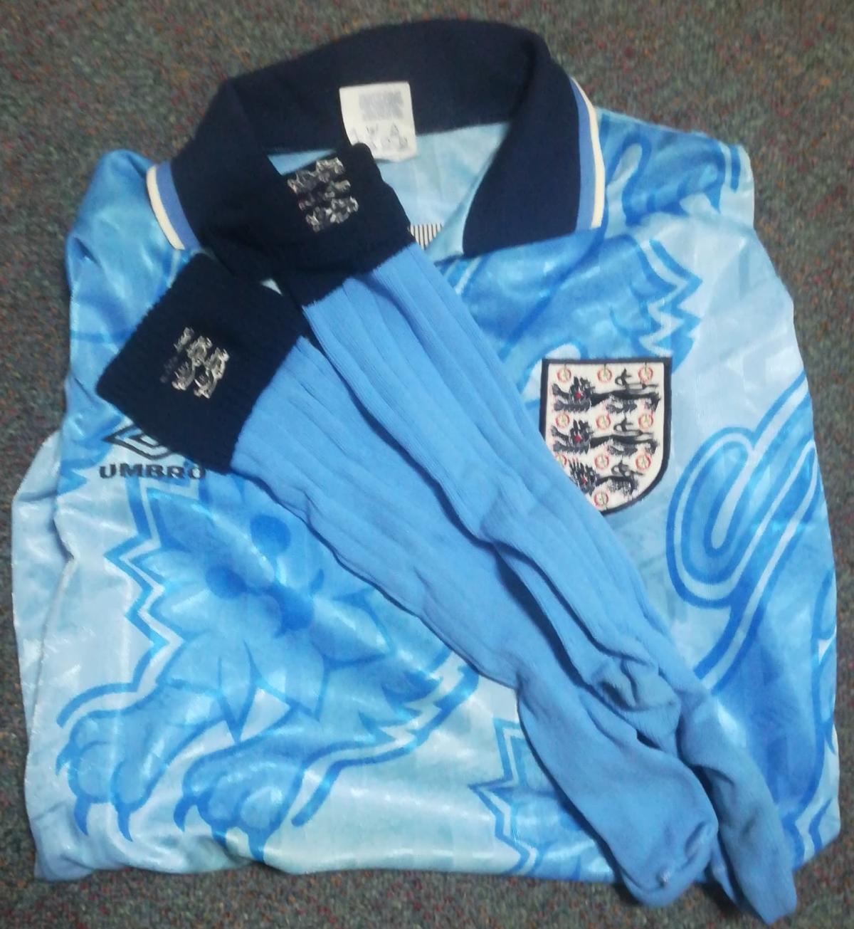 David White's England Debut Shirt v Spain - 1992 - with Socks