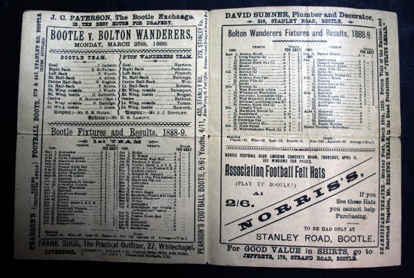 1889 Bootle v Bolton Wanderers Programme