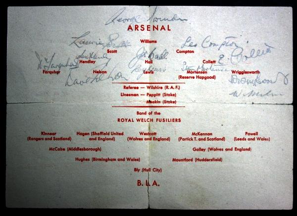 Arsenal v British Land Army XI Dusseldorf 1945 Signed Programme