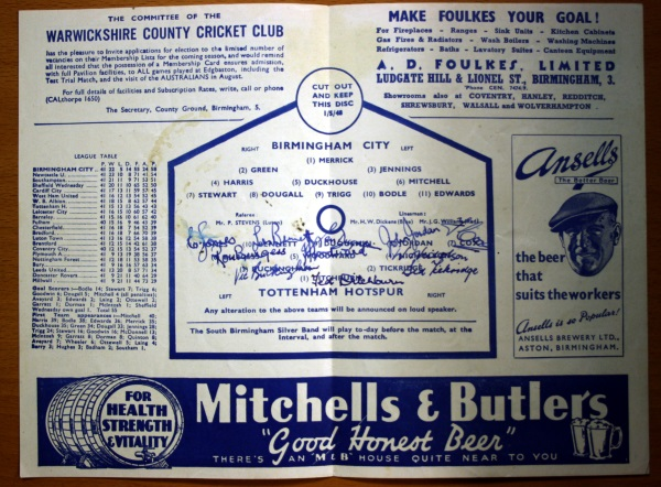 Birmingham City v Tottenham Hotspur May 1948 Programme - Signed