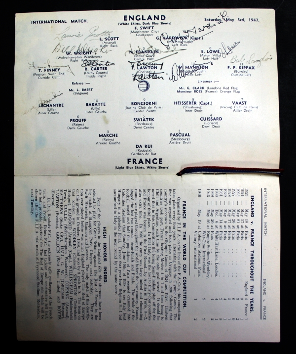 England v France May 1947 Signed Programme