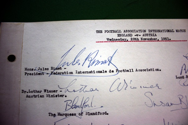 England v Austria 1951 - Wembley Distinguished Visitors Book