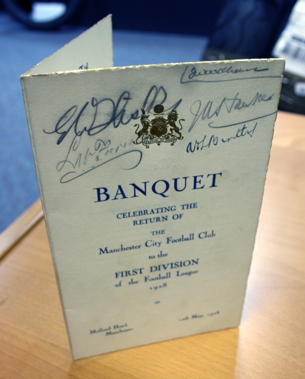 Manchester City Signed 1928 Banquet Menu