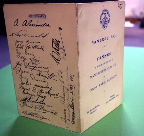 Rangers FC 1934 Signed Dinner Menu
