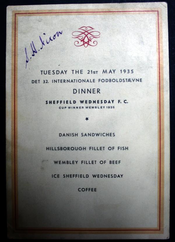 Sheffield Wednesday 1935 Tour of Denmark Signed Menu