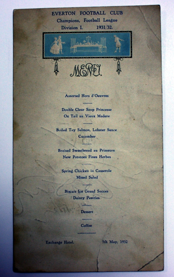 Signed 1931/32 Everton League Champions Dinner Menu
