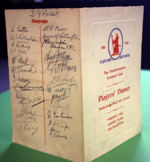 1943 Southampton FC Autographed Dinner Menu