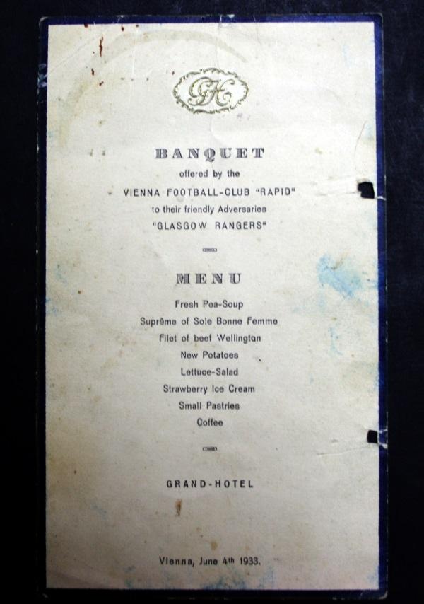 Vienna v Rangers FC Signed Dinner Menu 1933