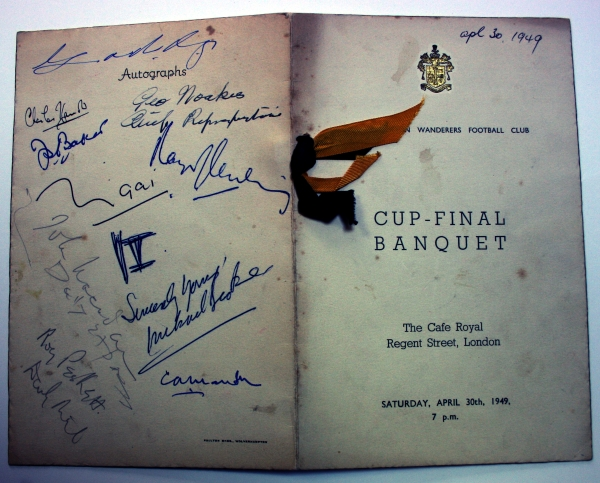 Wolves Cup Final Banquet Signed Menu 1949